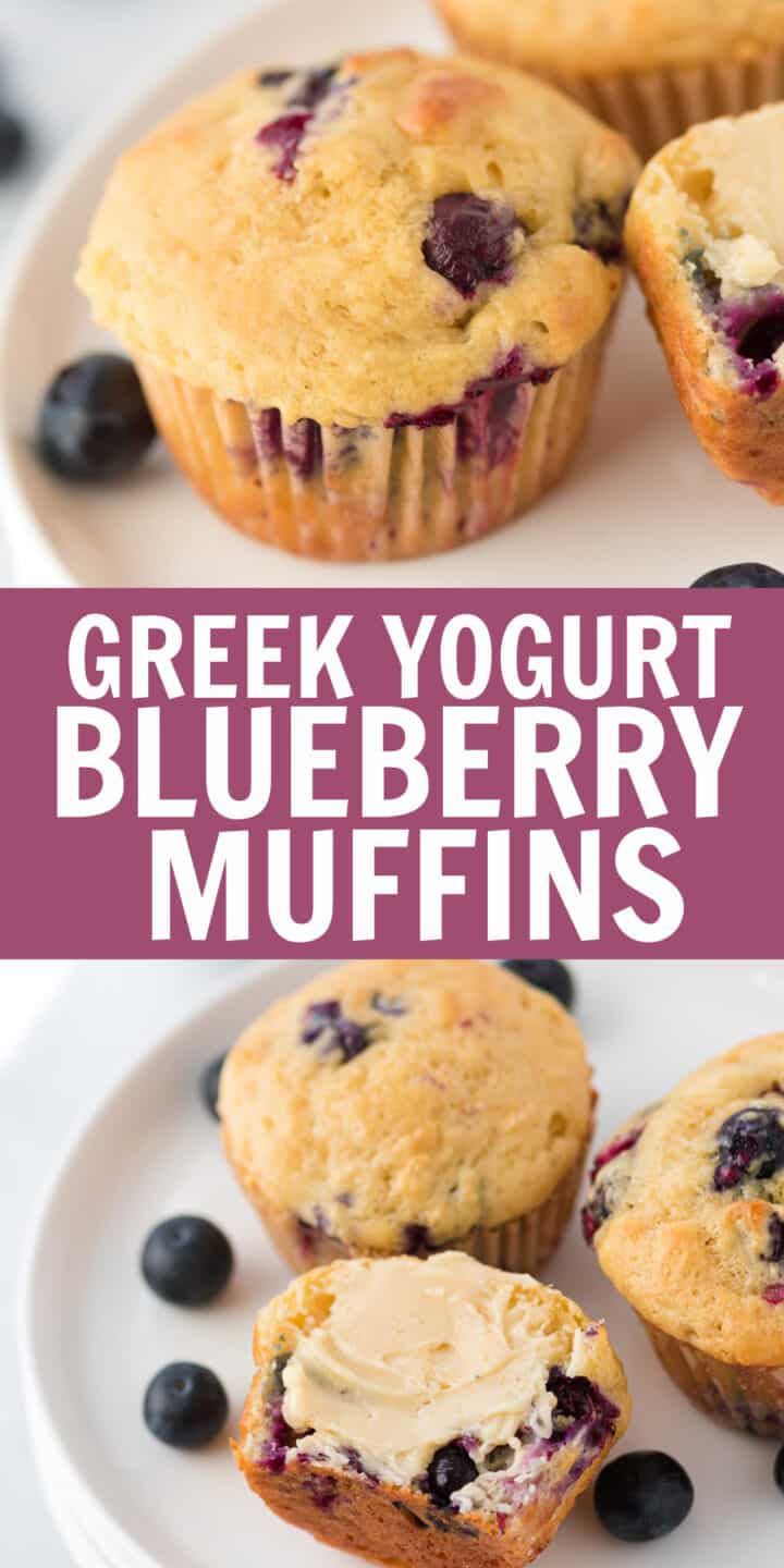 "image with text ""greek yogurt blueberry muffins"""