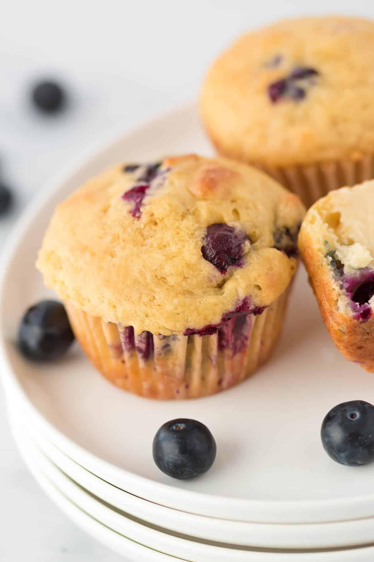 greek yogurt blueberry muffin on a white plate