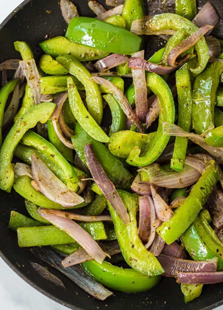 copycat chipotle fajita veggies in a skillet