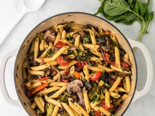 roasted vegetable pasta in a white dutch oven