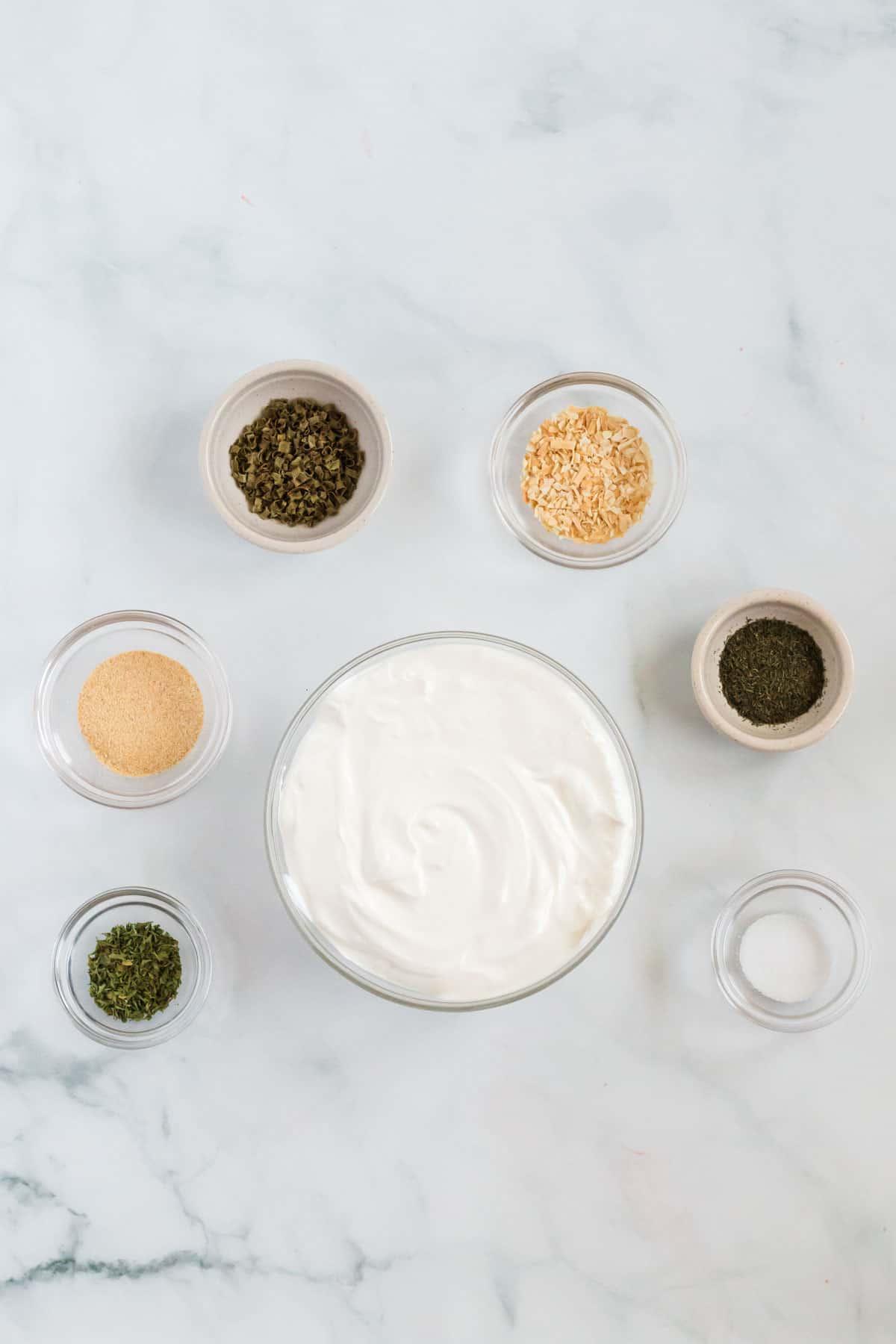 ingredients to make chip dip
