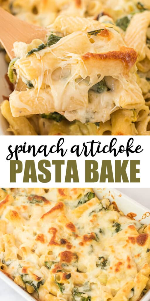 """image with text """"spinach artichoke pasta bake"""""""