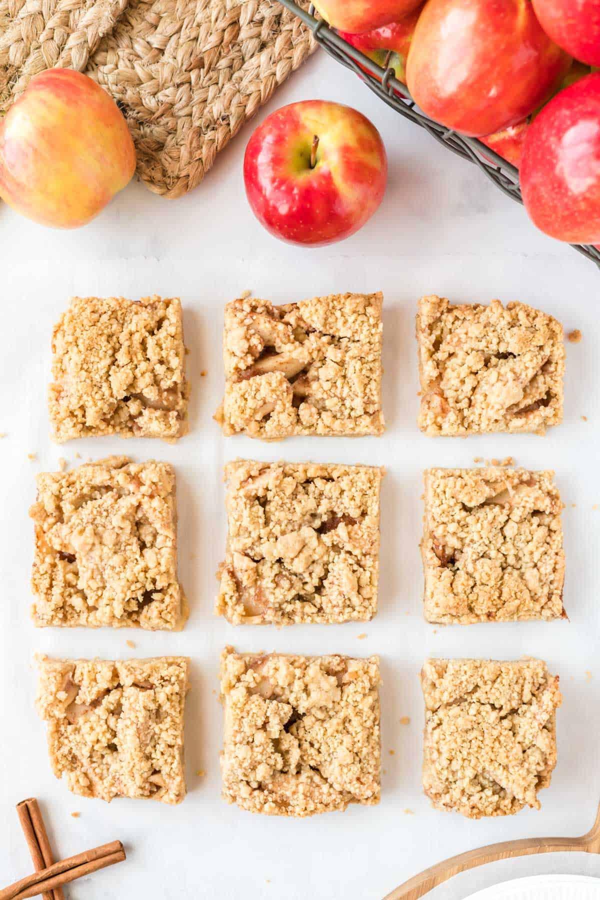 apple crisp bars cut into 9 pieces