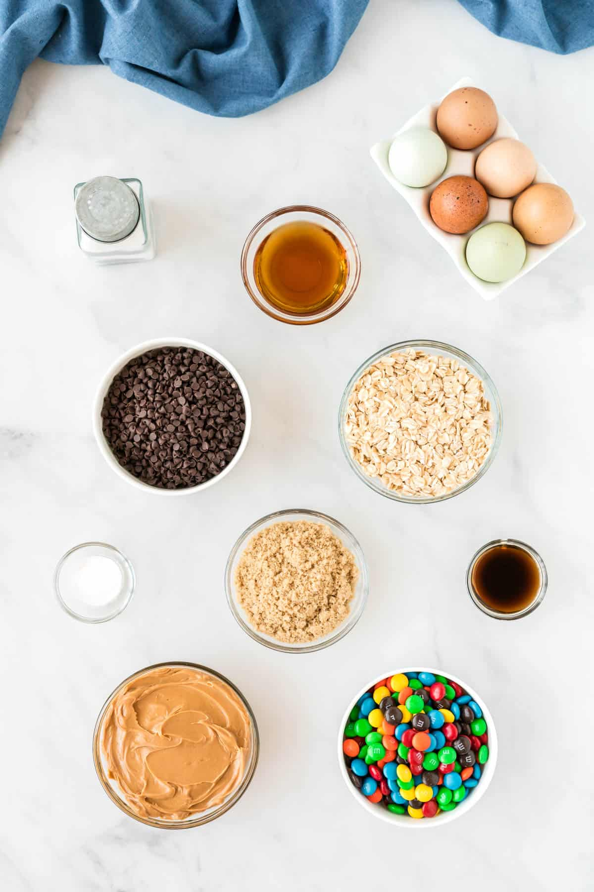 gluten free monster cookie ingredients lined up