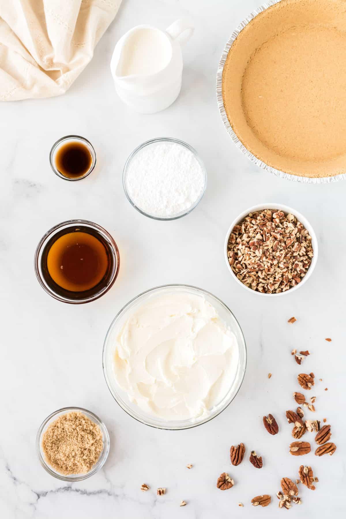 pecan cream pie ingredients from an overhead view
