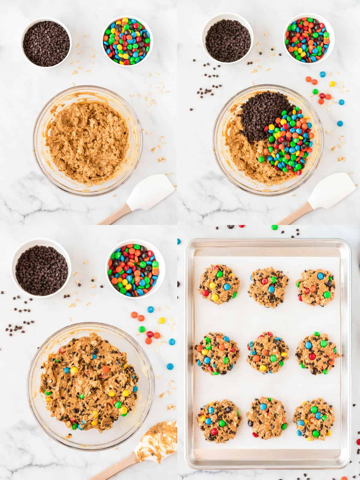 collage image showing the m&m's and chocolate chips being added, then the cookies formed on the baking sheet