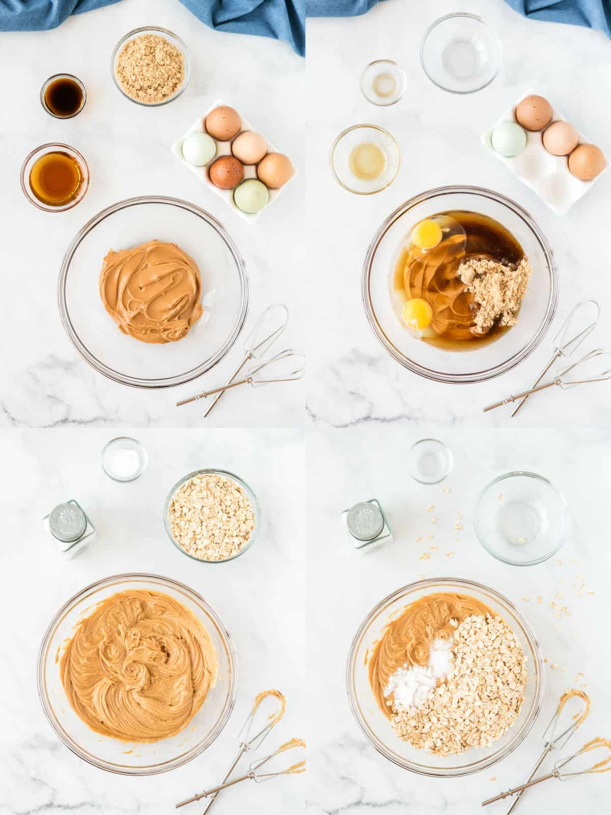 collage image showing the batter ingredients being mixed together