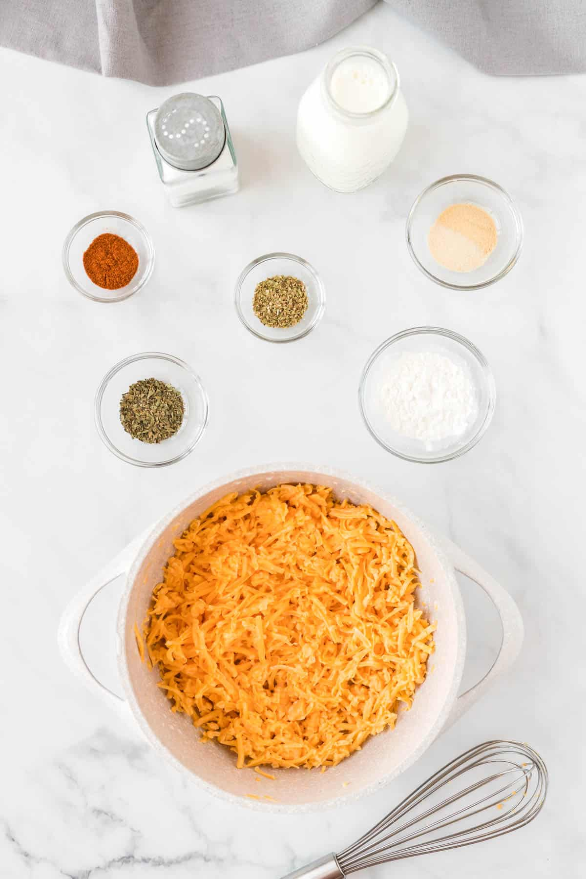 ingredients to make cheese sauce
