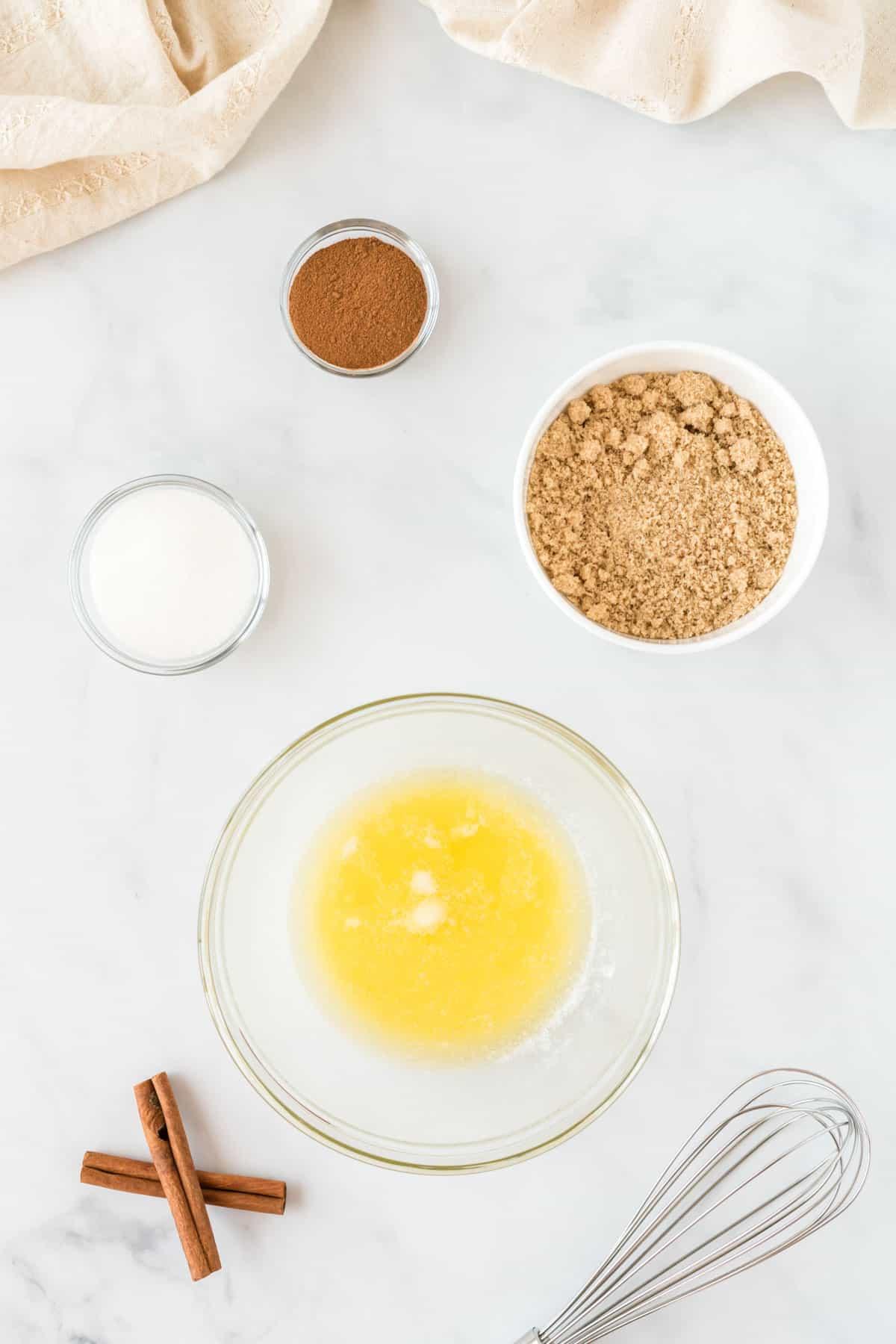 ingredients to make the cinnamon sugar