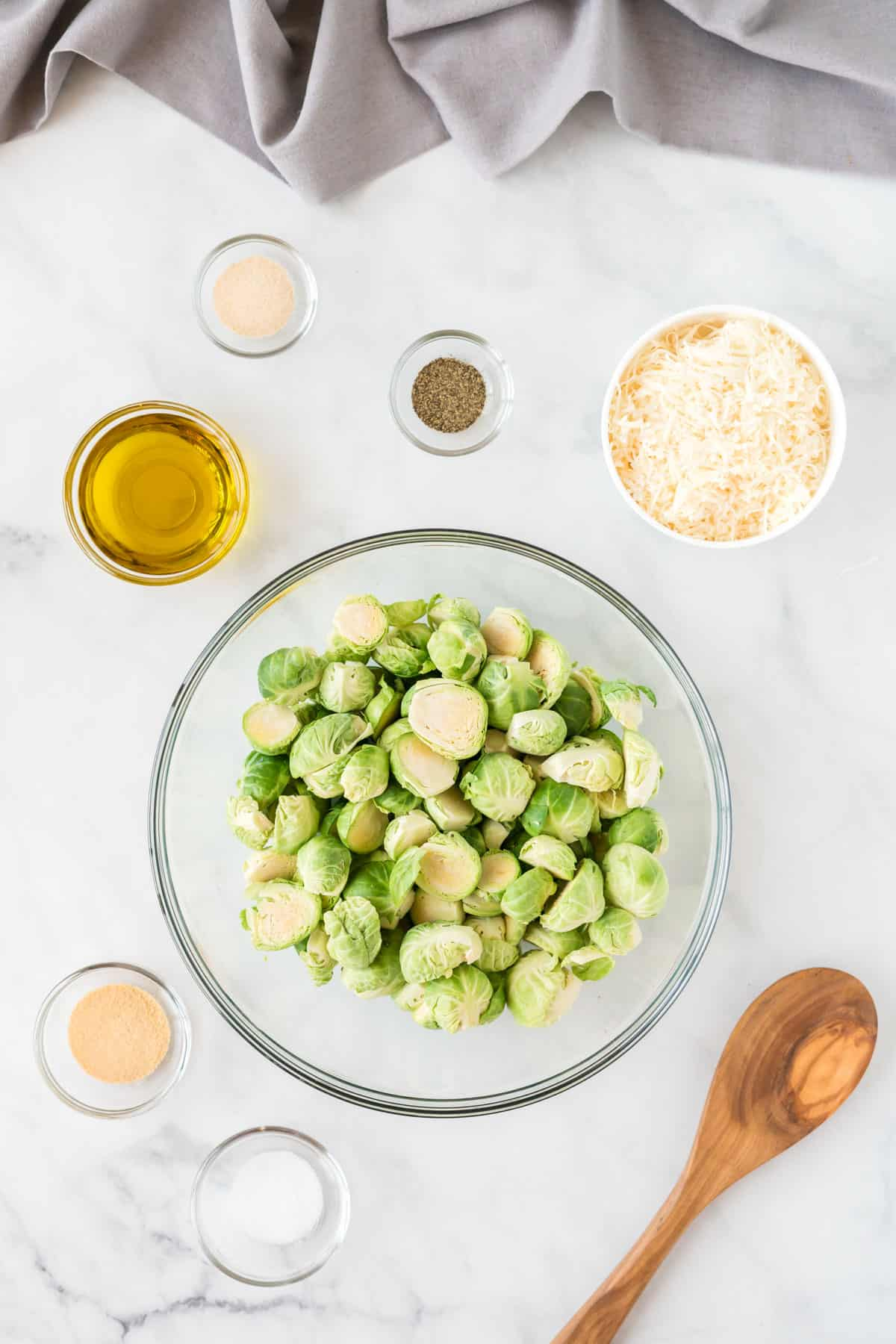 ingredients to make the brussels sprouts in bowls