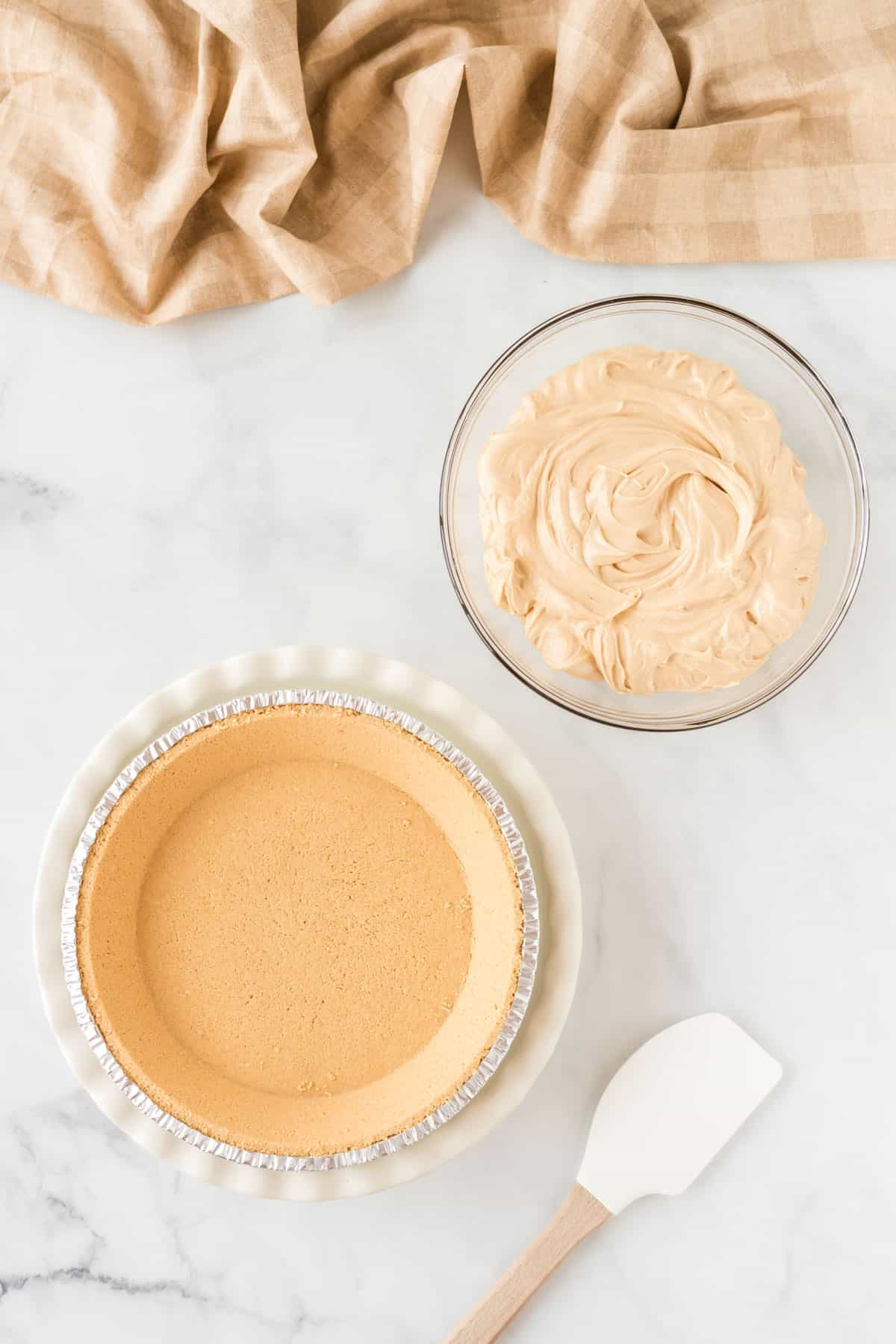 pie filling and a graham cracker crust