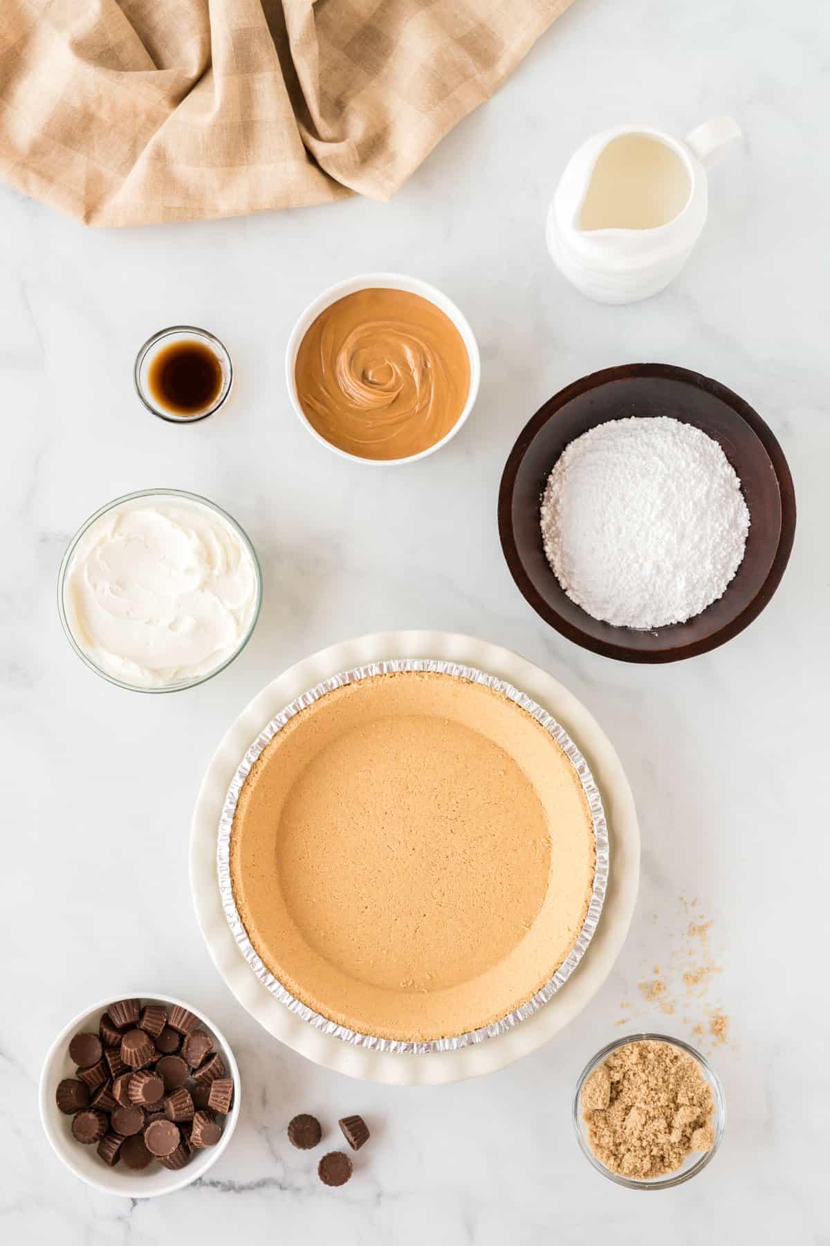 ingredients to make peanut butter pie