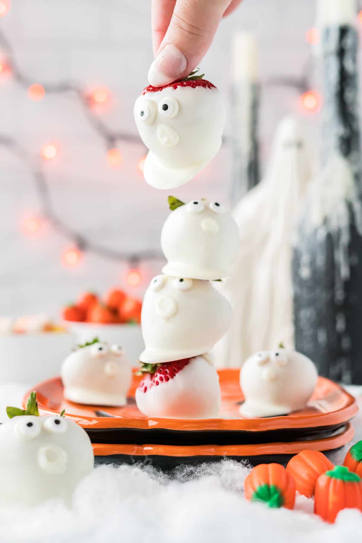 stacked strawberry ghosts on a plate
