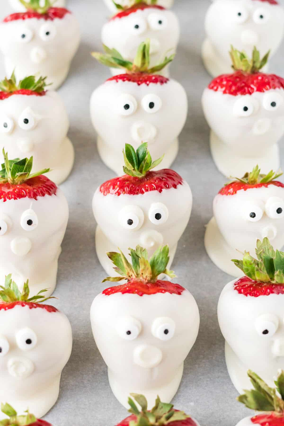 strawberry ghosts with googly eye candy