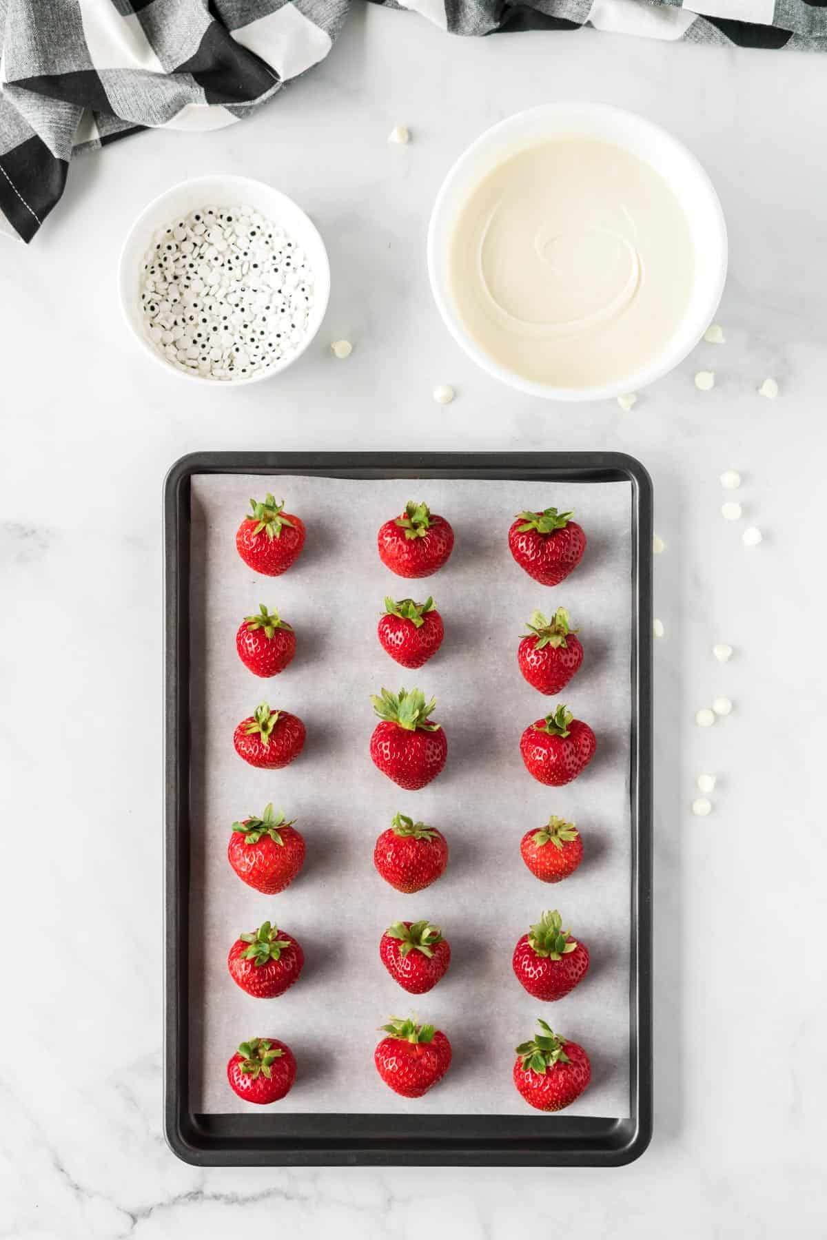 strawberries on a baking sheet