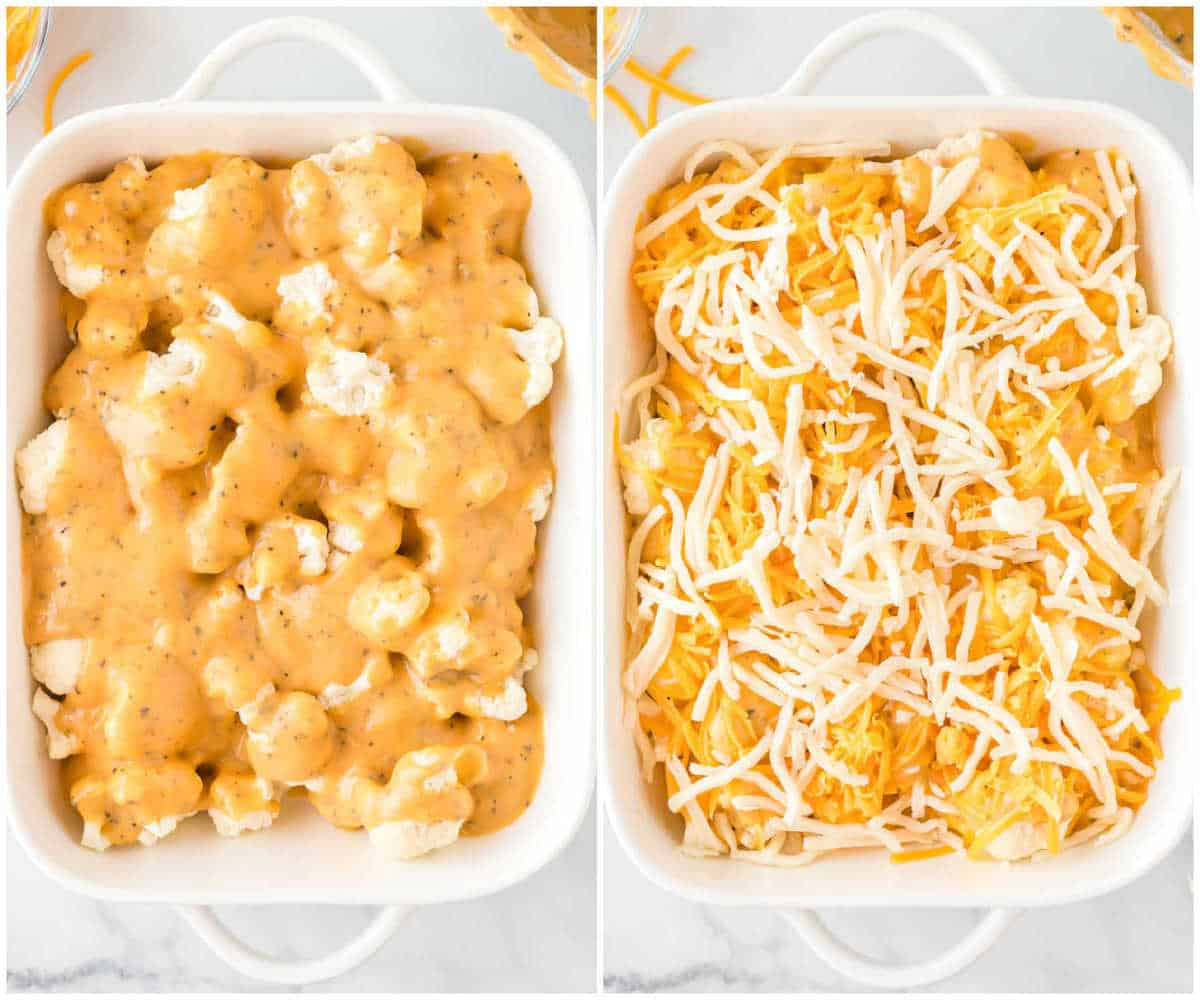 collage image showing the cheese sauce poured over the cauliflower, then the shredded cheese placed on top