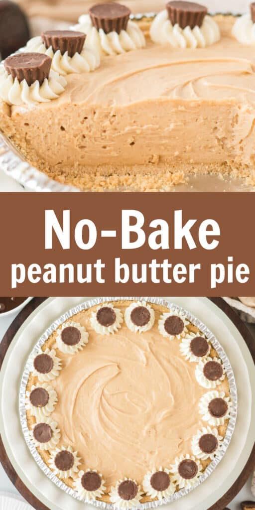 """image with text """"no-bake peanut butter pie"""""""