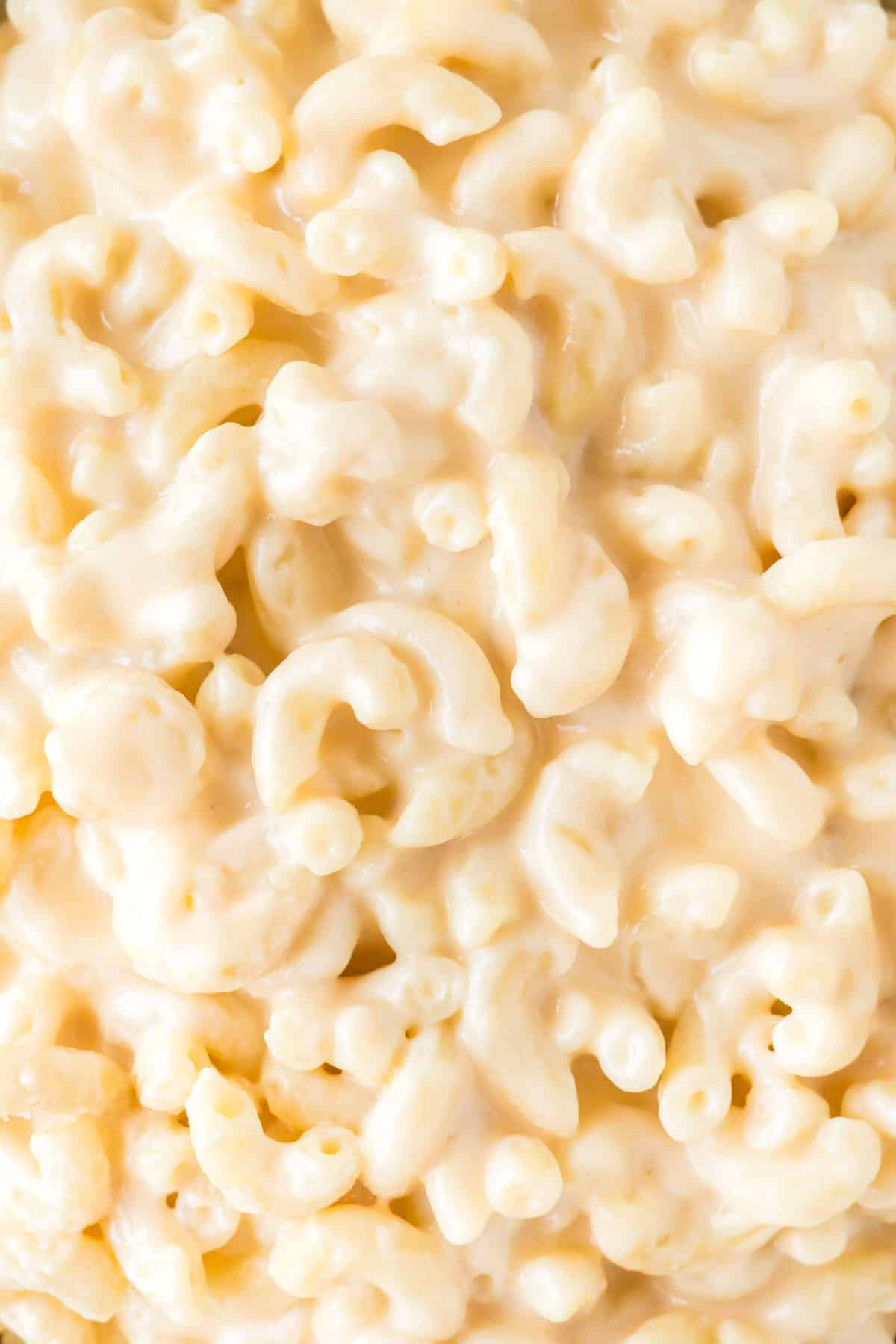 up close image showing the creaminess of the greek yogurt mac and cheese