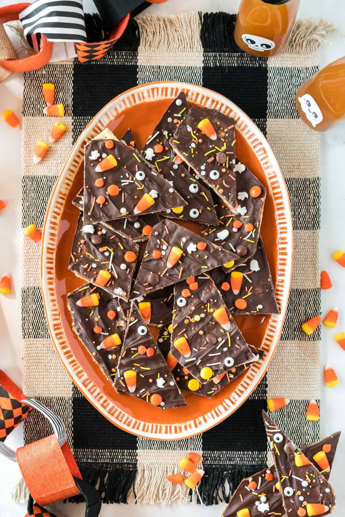 halloween crack candy on an orange serving plate