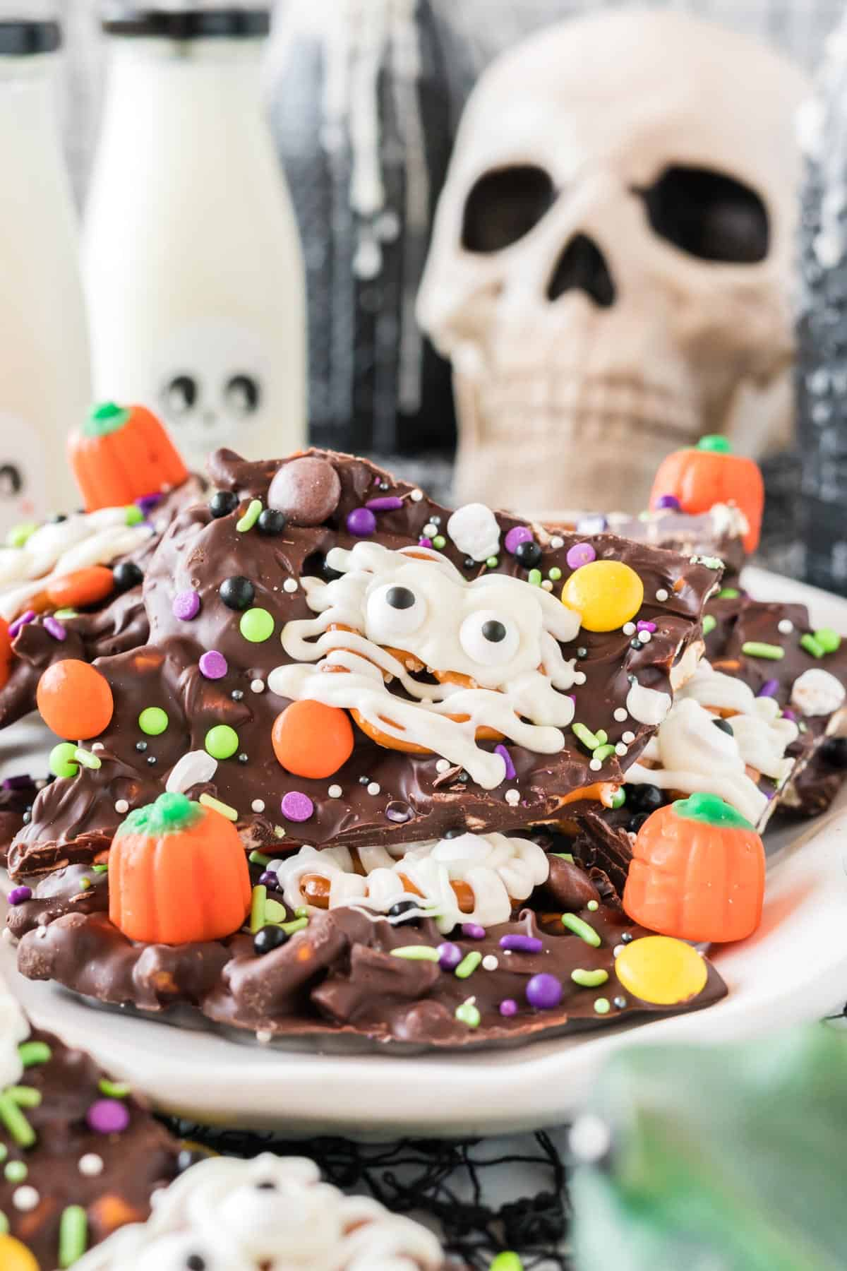 halloween bark on a skull serving dish