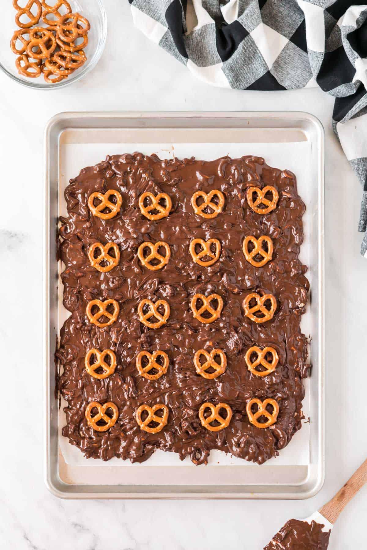 pretzel bark topped with whole pretzels