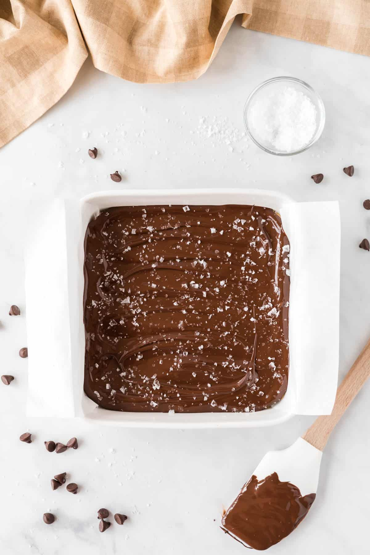 melted chocolate smoothed out and sprinkled with flaked sea salt