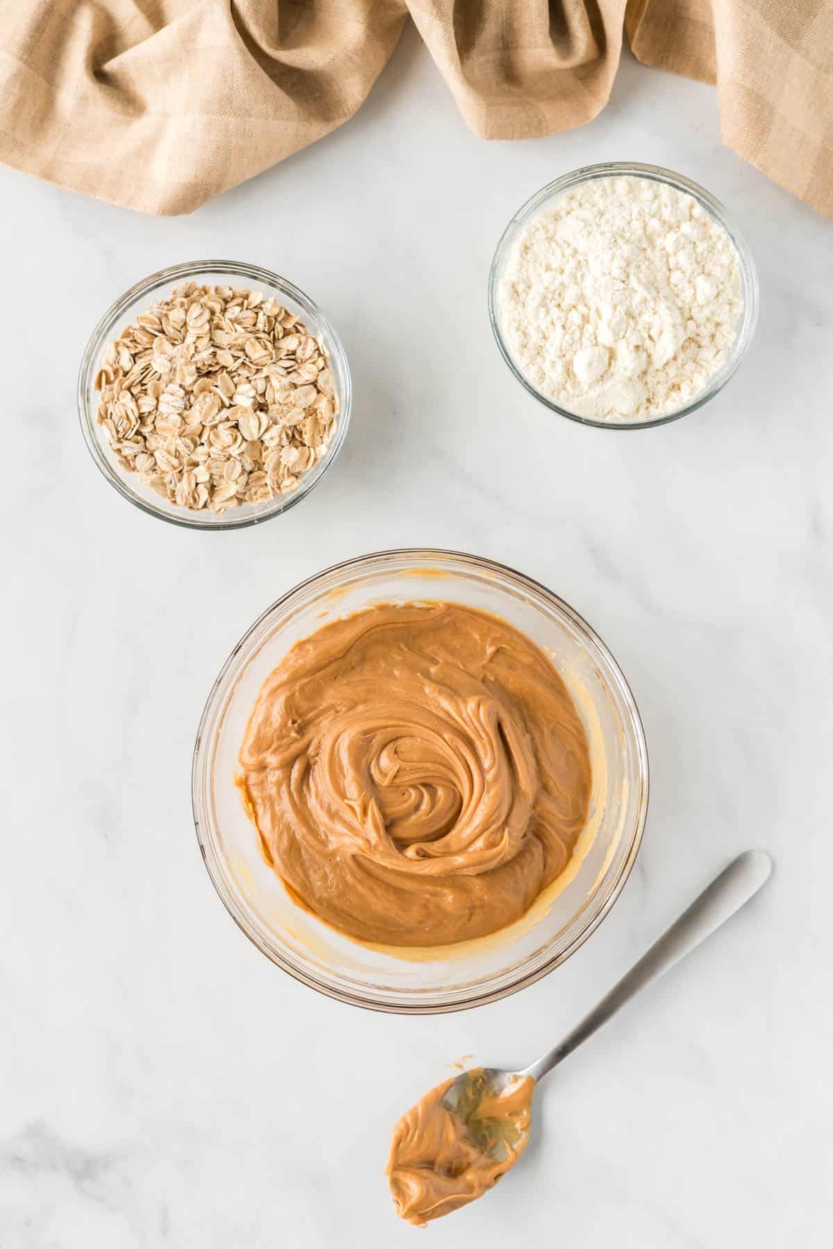 peanut butter, honey, oats, and protein powder