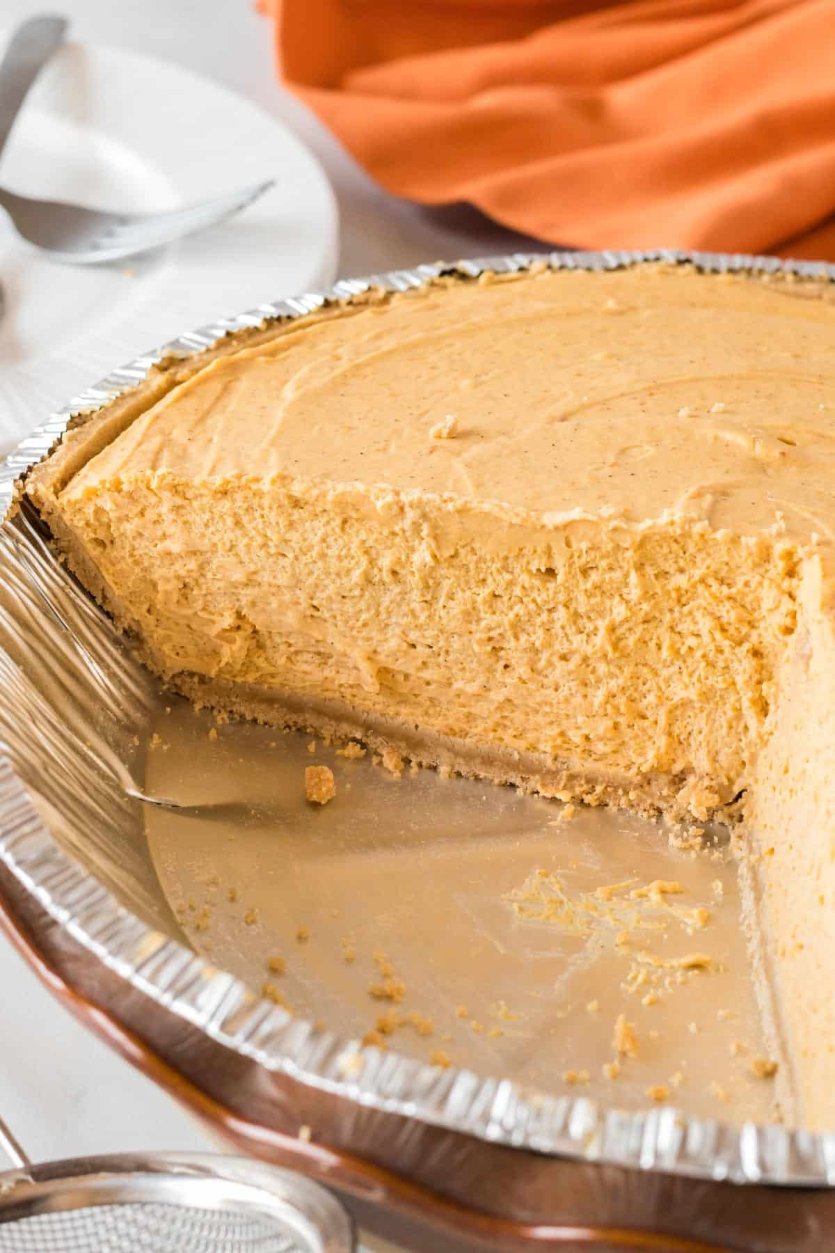 showing the texture of the whipped no bake pumpkin pie